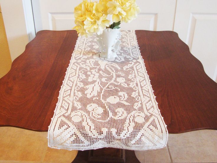 Filet Lace Crochet Table Runner Table Topper Fruit and