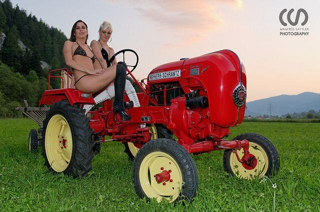 girls tractors Old farm