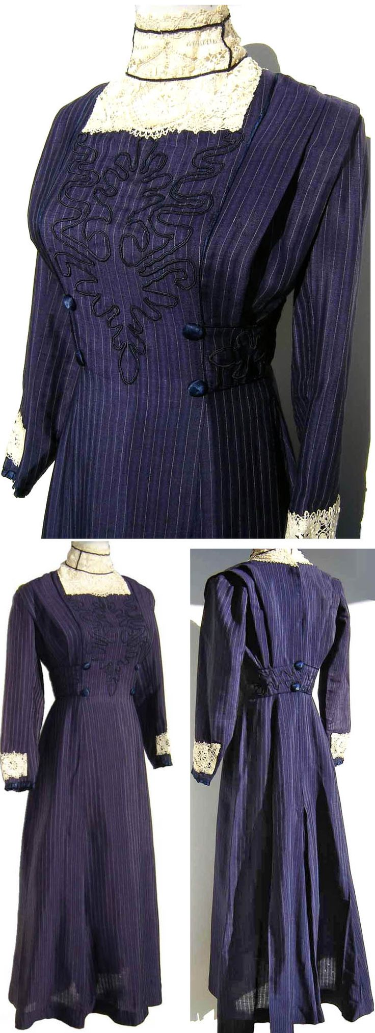 Day dress ca. 1910-13. Silk crepe (?), in navy blue with thin white vertical pinstripe. High neck with white cotton lace and blue piping, long sleeves with lace trim, fitted bodice with soutache on front, side pleats, silk-covered buttons, and A-line skirt. Hook & eye fasteners in back. metroretrovintage/ebay