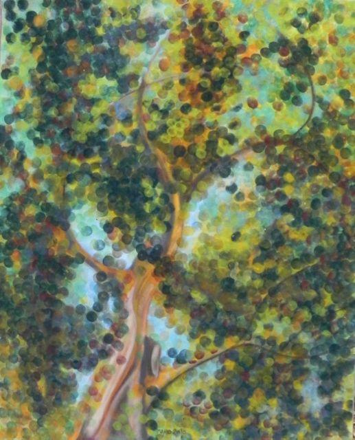 MAHO: Artiste peintre et Mail-artiste: Pastels secs. Titre AUTOMNIUS COLOR - 2010- Pastels secs sur papier velours. Format 40x50 cm