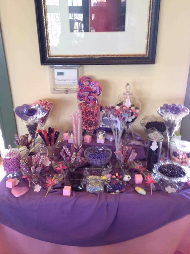 purple and pink candy table