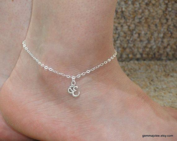 Silver ohm anklet Silver charm ankle bracelet Ohm by GemmaJolee