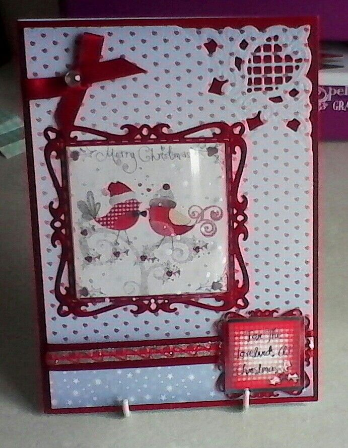 Christmas card with acetate over Hunkydory topper on Spellbinders Captivating Squares.