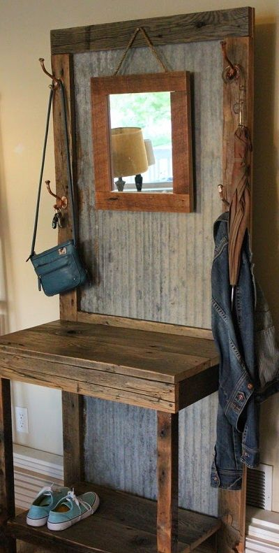 Front Entry Coat Tree Made Out Of Rustic Planking Rustic