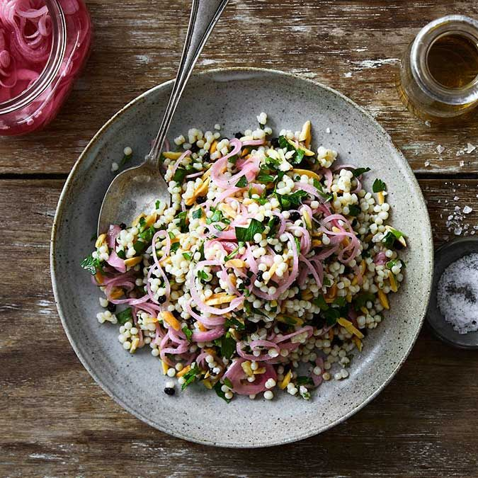 Pearl couscous with parsley and pickled red onion