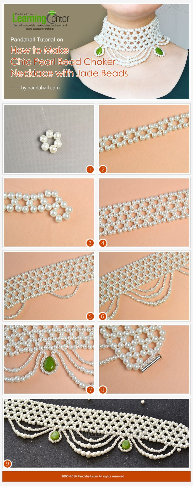 Pandahall Tutorial on How to Make Chic Pearl Bead Choker Necklace with Jade Beads from LC.Pandahall.com