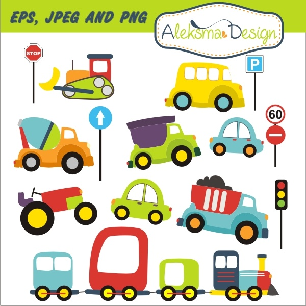 """Lovely Transport set with traffic signs, perfect for your craft project, scrapbooking, invitations, party, etc. Set contains 15 clip arts 3"""" height and 2'' height (traffic signs)all in high rezolution JPEG and PNG (transparent), and EPS version 8."""