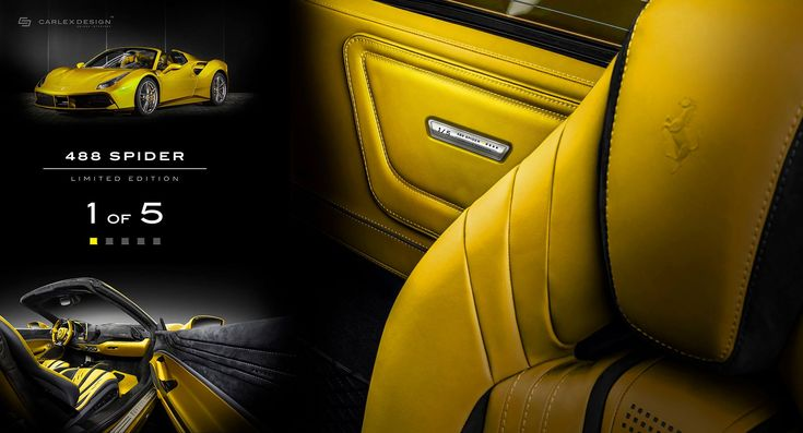 Latest Ferrari 488 Spider By Carlex Is All Yellow Leather And Alcantara | carscoops.com