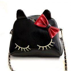 $14.15 Cute Women's Crossbody Bag With Bowknot and Kitten Pattern Design