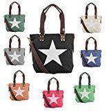 OBC sportliche Damen Stern Tasche DIN-A4 Henkeltasche Handtasche in 2 Varianten Canvas Baumwolle CrossOver Schultertasche Umhängetasche…