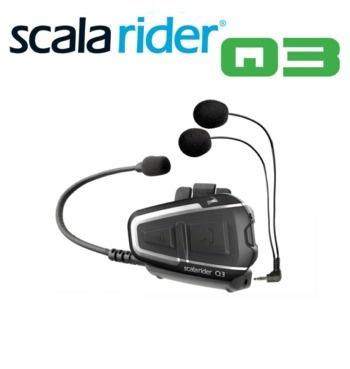 Cardo Scala Rider Q3 Communicatie en Entertainment Systeem -  SCALA RIDER Q3 - 'Het ultieme motor naar motor communicatie en entertainment systeem' De Scala Rider Q3 maakt het rijden in groepen pas echt leuk! Met zijn stijlvolle en gestroomlijnde ontwerp, biedt hij de mogelijkheid tot wisselende intercom gesprekken tussen uzelf en 3 andere bestuurders over een afstand tot 1 km*. De Q3 heeft voorts dezelfde eigenschappen als de Q1 met daarboven op de... [meer zie website]