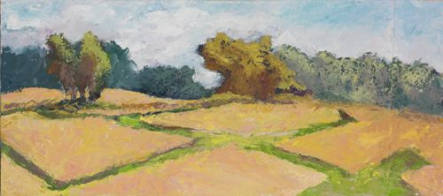 Wheatfields, oil on linen, 12in x 24in