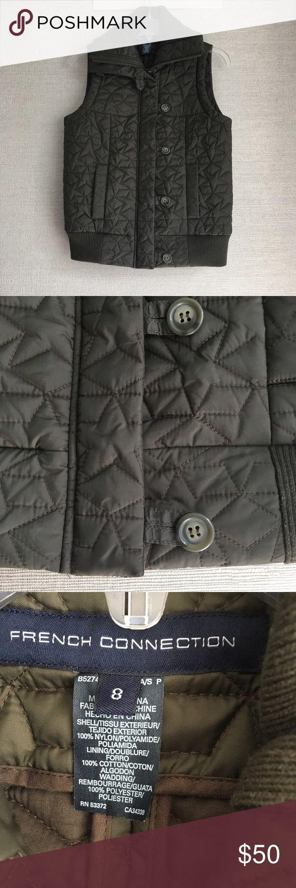French Connection Quilted Vest in army green EUC - Cold but not enough for a coat? Why not reach for this French Connection Vest, the perfect compromise between a jacket and coat. Featuring a star pattern with a hidden zip and loop placket detailing, this vest is focused on the finer details. French Connection Jackets & Coats Vests