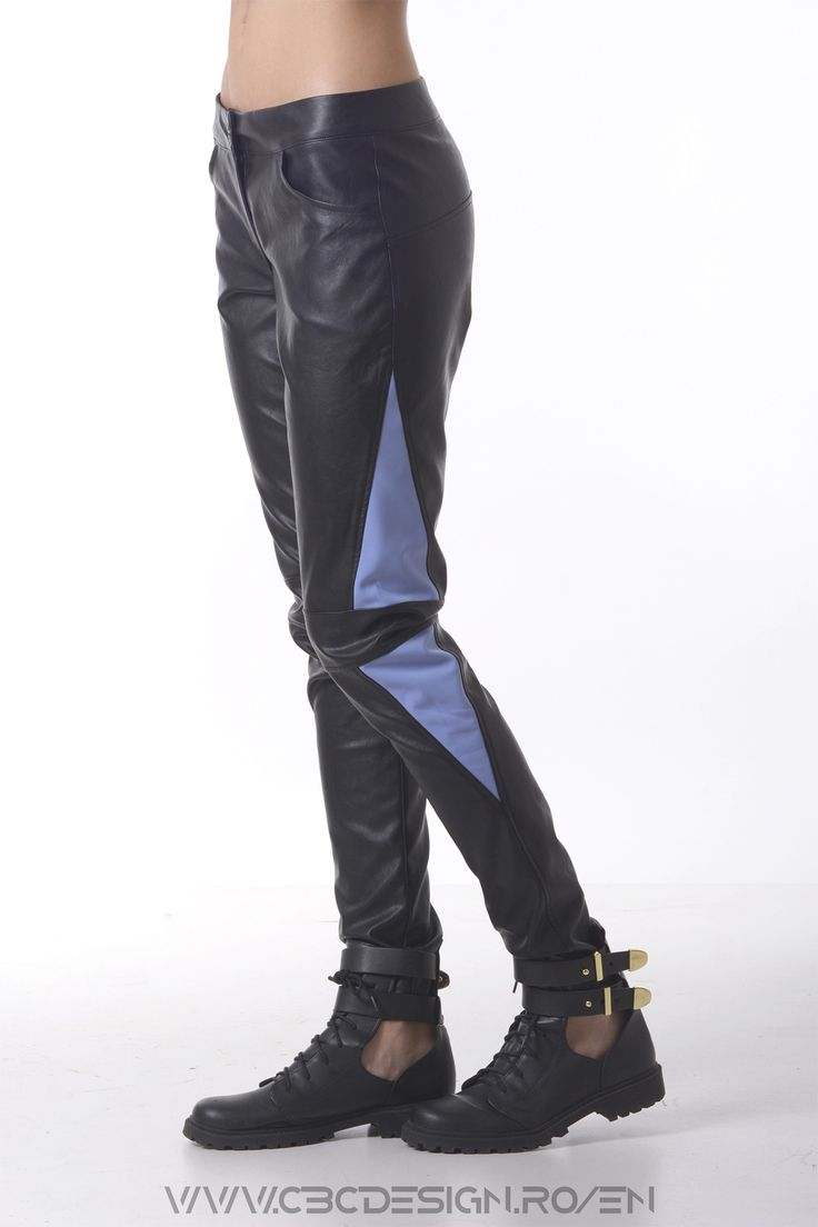 The ICEBERG Pants have arctic-blue triangles inserted on the side and a horizontal knee elements that, combined with the faux-leather fabric, give the pants a chic biker look.