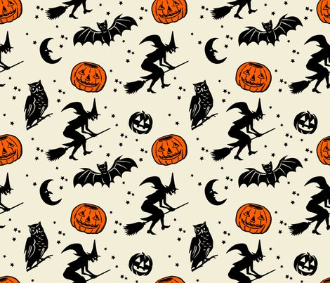 Bats and Jacks ~ Black on Cream with Orange Jacks fabric by retrorudolphs on Spoonflower - custom fabric