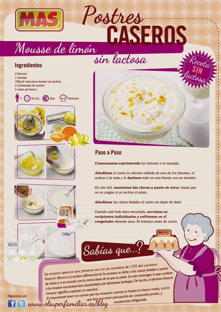 #Receta de #Mousse de limón sin lactosa, un postre fácil de preparar y muy rico, ¿probáis en casa?