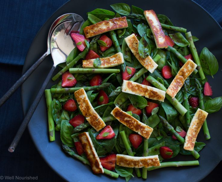 This Haloumi, Asparagus and Strawberry Salad is a delicious combination of flavours and is packed full of goodness too. Grain and gluten-free.