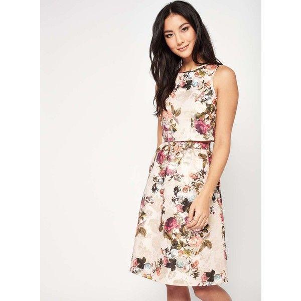 Miss Selfridge PETITE Jacquard Midi Skirt ($90) ❤ liked on Polyvore featuring skirts, gold color, petite, calf length skirts, floral knee length skirt, floral midi skirt, floral print skirt and midi skirt