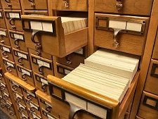 we went through the card catalog to find the books and resources we needed.