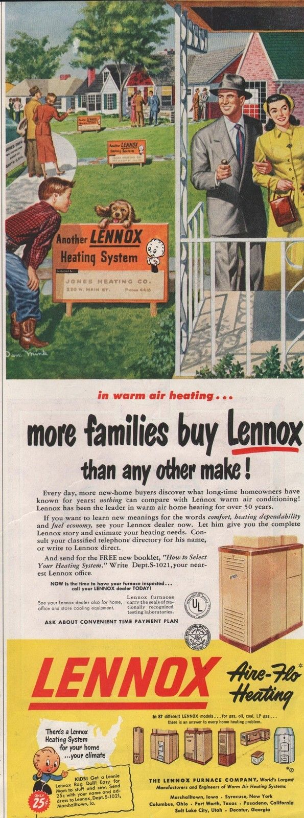 1950 Vintage Lennox Furance Aire Flo Heating More New Home Buyers Print Ad | eBay