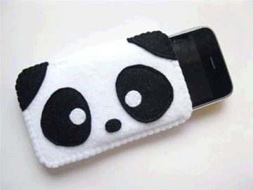 Panda iPhone case - no tutorial, but a great idea