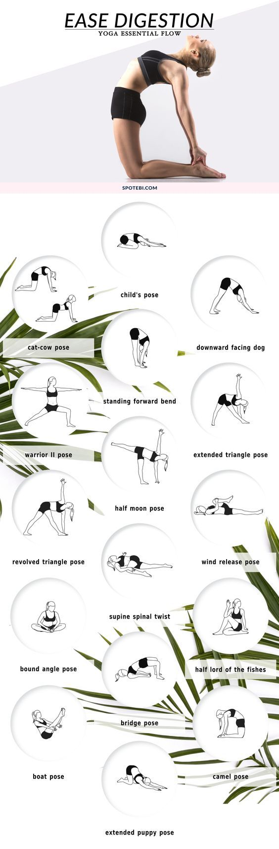 Boost digestion, relieve constipation and de-bloat with this 20-minute yoga essential flow. Pair these 17 yoga poses with deep breathing to massage the abdominal organs, increase circulation and get things moving! http://www.spotebi.com/yoga-sequences/ease-digestion/: