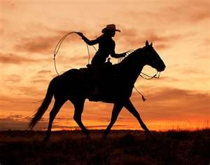 cowgirl on a horse in the sunset