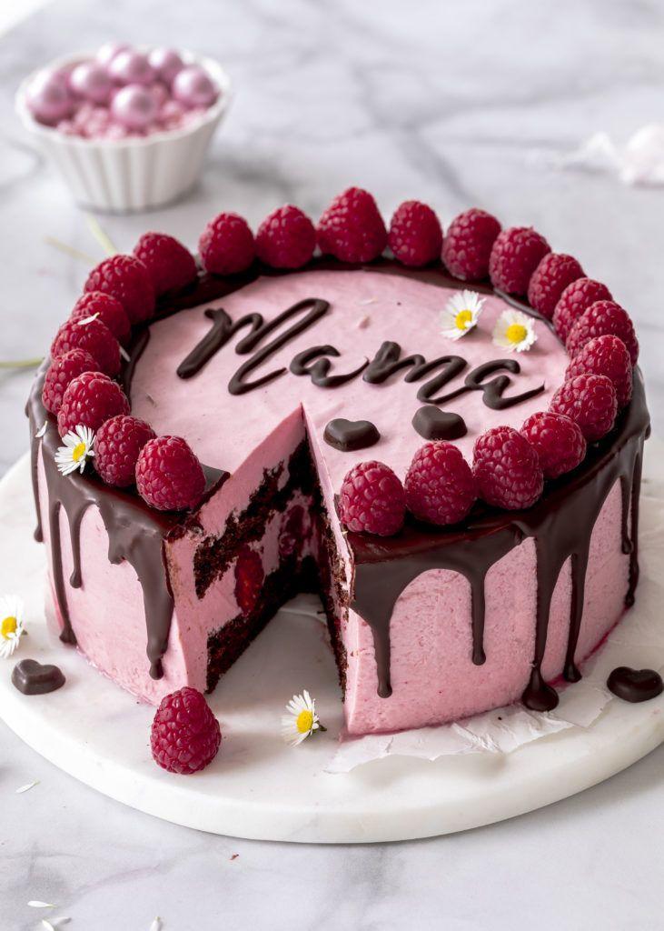 Rezept: Himbeer-Mousse-Torte mit Schokolade und Schriftzug zum Muttertag backen …   – Zitate