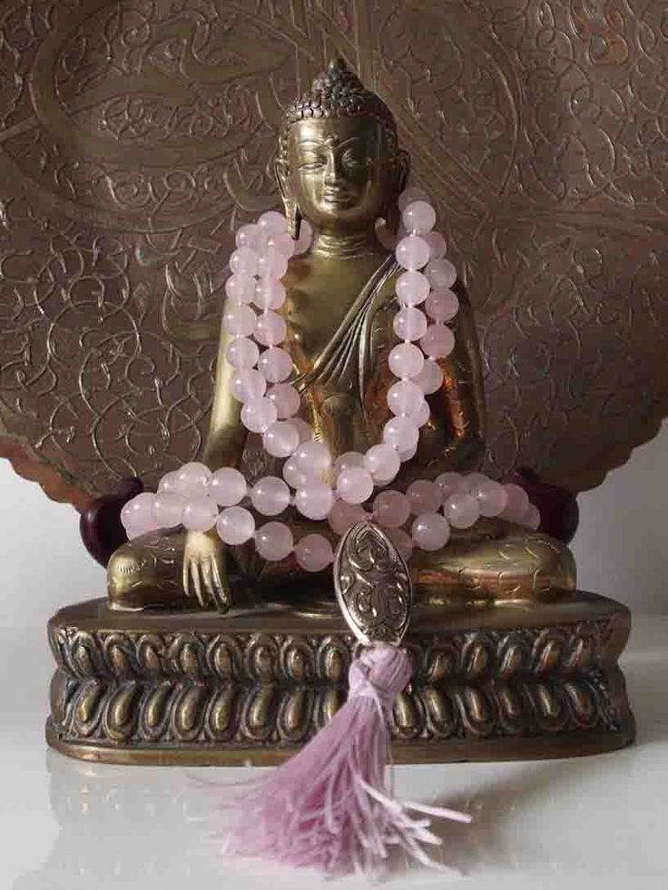 Sally McBride 7 ROSE QUARTZ Mala comprised of 108 beads 10mm in diameter each with a silver guru bead and tassel.