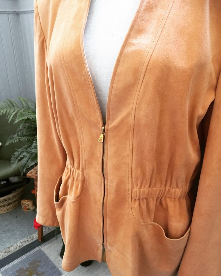Vera Pelle/80's/vintage/suede/jacket/peach/gold hardware by WifinpoofVintage on Etsy