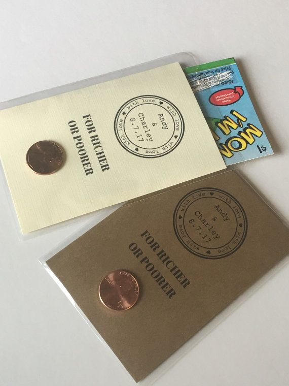 Custom Lottery Ticket Favors - Lottery Ticket Holders - Wedding Favors - 'For Richer or Poorer'