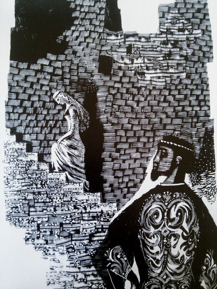 An ink drawing by Jiri Trnka