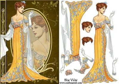Art Nouveau Evening Gown Fashion Reflections Decoupage on Craftsuprint designed by Sue Way - A stylish card front in shades of gold with a sophisticated Art Nouveau lady in a beautiful gold and lace evening gown with a pretty silk wrap, looking at her reflection in cameo. Includes step by step layers to give your card depth. Perfect for ladies of any age. - Now available for download!
