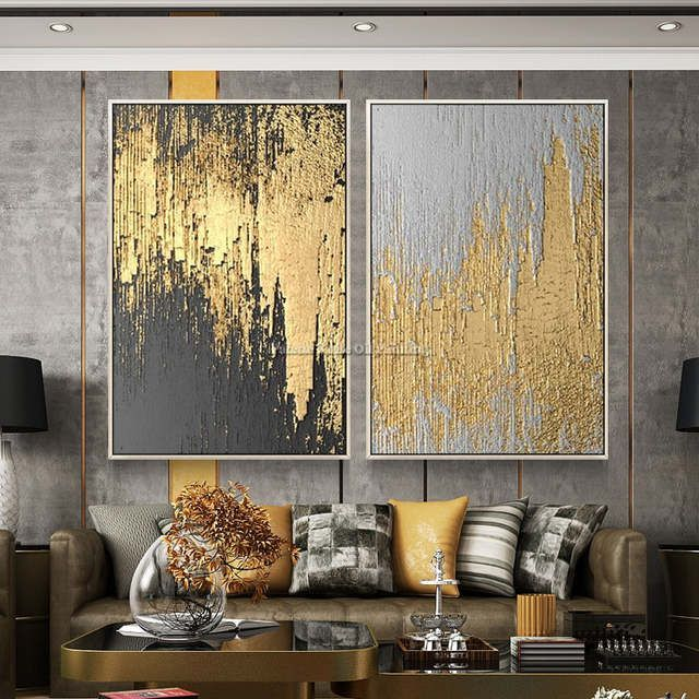 Online Shop Canvas Painting Cuadro Decoracion Acrylic Painting Palette Knife Gol Living Room Pictures Wall Art Pictures Abstract Art Paintings Acrylics Online painting for living room