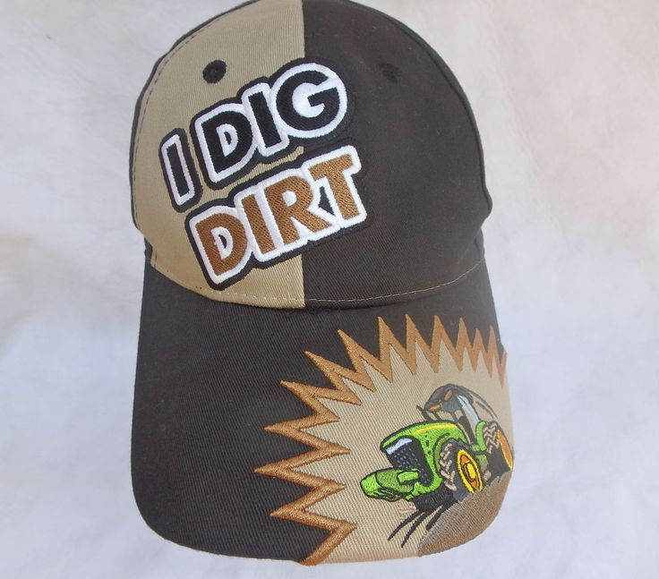 Black and Brown Embroidered John Deere I Dig Dirt Tractor Baseball Hat in Clothing, Shoes & Accessories, Men's Accessories, Hats | eBay