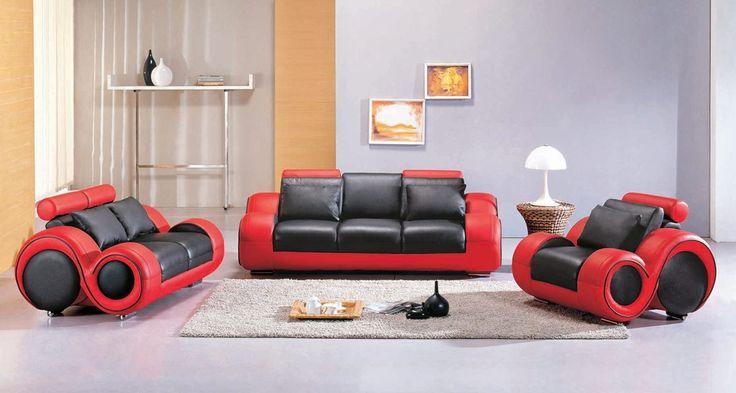 4088 - Contemporary black and red sofa set