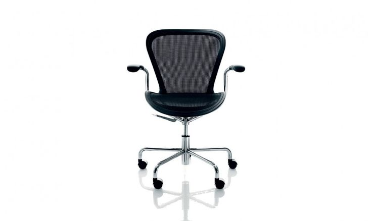 Swivel chair with arms on 5 wheels.  Adjustable in height with gas piston. Material: frame in steel tube chromed or painted in epoxy resin. Seat in synthetic mesh (shape retaining) with surround in air-moulded polypropylene with glass fibre added. Arms in self-skinning textured polyurethane.