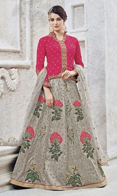 Buy online Magenta and Grey Heavy Embroidered Frock Suit (SKU Code : SUEBRSYB-S202) at Ishimaya Fashion.
