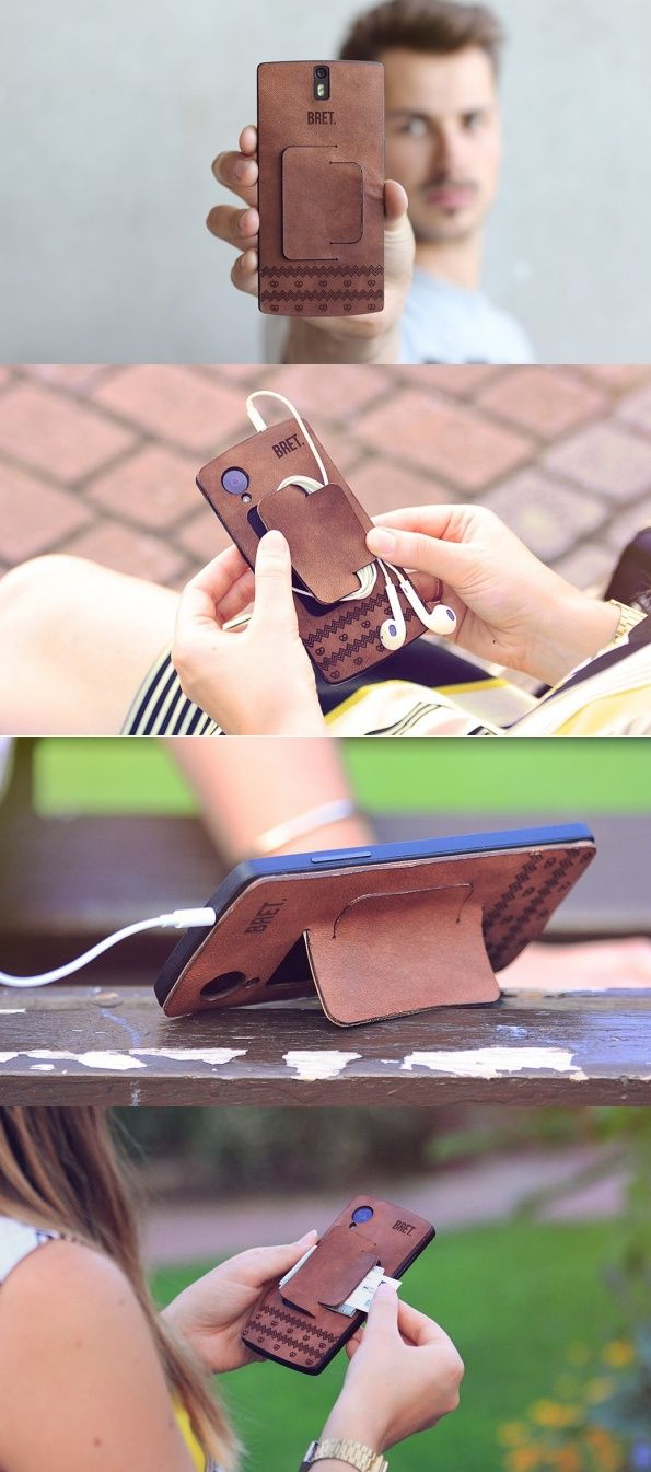 Thanks to the nature of the material, each leather-clad case features its own unique details and character that differ one to the next. The design also features a slot for cards, tickets or other slim paper while a single flap turns it into a tripod for propping your phone while watching videos. #Phone #Case #Design #Leather #Vintage #Look #Style