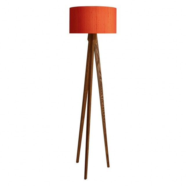The Walnut Tripod Floor Lamp Base And Drum Silk Shade Orange Are A Perfect Pairing The Drum Silk Shade Is Made Orange Floor Lamps Floor Lamp Base Tripod Lamp