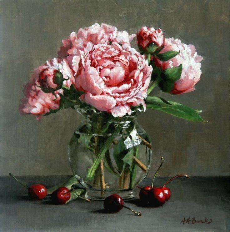 one of my favorite paintings .. Peonies and Cherries: Holly Hope Banks
