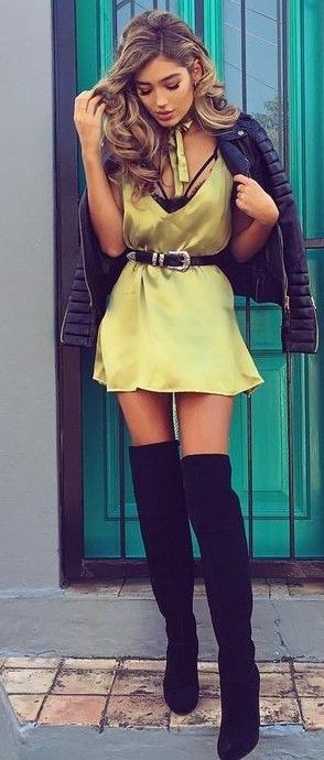 Lime Silk Dress + Black                                                                             Source