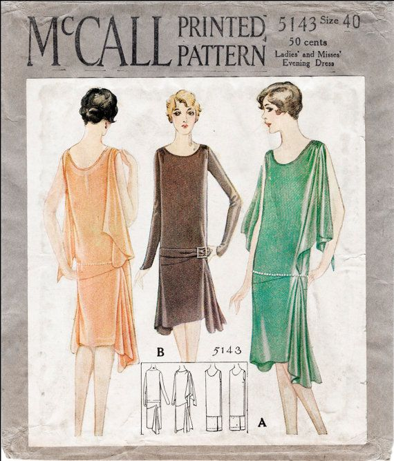 1920s Patterns – Vintage, Reproduction Sewing Patterns 1920s 20s repro vintage sewing pattern flapper day or evening dress bias cut drop waist large bust 40 reproduction $22.40 AT vintagedancer.com