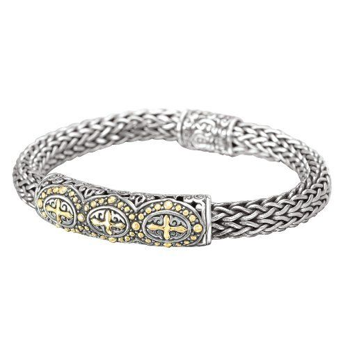 Enchanta Collection Sterling Silver & 18K Wheat Chain Three Cross Bracelet, 7.5 Inch Jewelryimpressions. $599.00. Designer Style. .925 Sterling Silver. Packaged in a Box. Genuine Stones. 18k Gold Accents