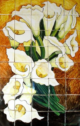 A rustic tile mural looks pretty on a kitchen wall backsplash, bathroom wall or table-top. Calla lilies and Sunflowers mural sku 19082 is available in custom dimensions. rustic tiles can be also installed in swimming pools, fountains and outside of the buildings.