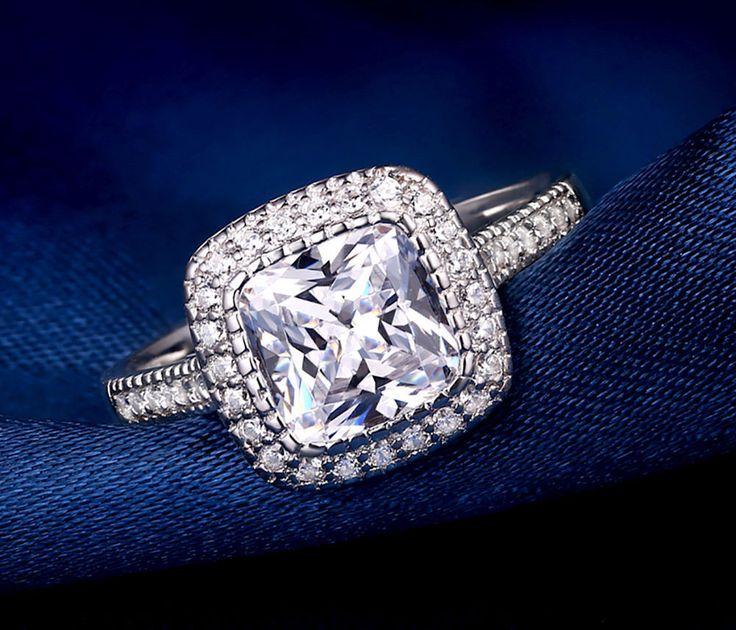 2.5 CT Cushion Cut Diamond Solitaire Halo Engagement Ring 14K White Gold Over #RegaaliaJewels #HaloEngagementRIng #EngagementWeddingAnniversary