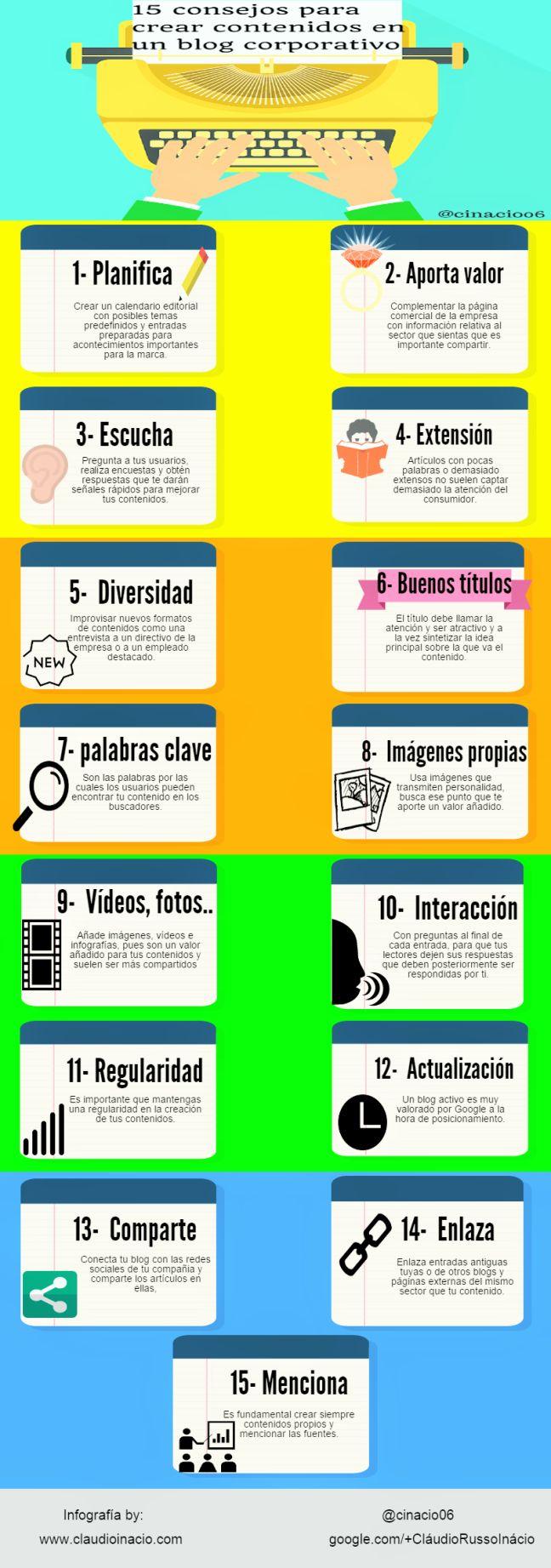 15 consejos para crear contenidos en un blog corporativo