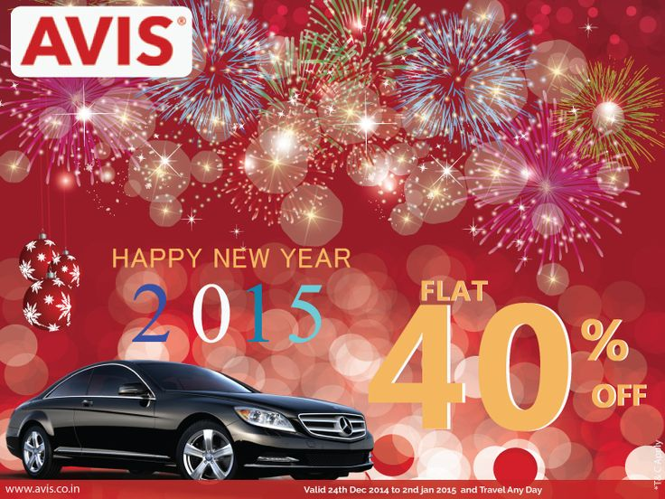 Make this #NewYear more memorable and enjoyable with #AVISIndia #carrental service. You can book #Caronrent online Till Jan 02' 2015 and get Flat 40% discount on Chauffeur as well as Self drive rental car. Book Now: http://bit.ly/avisoffer