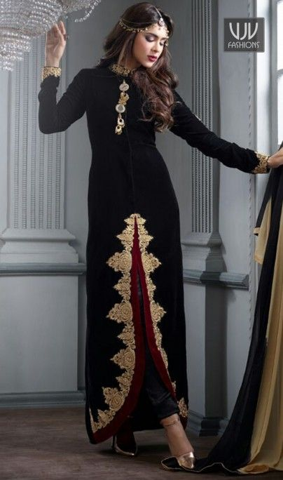 Beauteous Resham Work Black Velvet Designer Salwar Suit  Look sensationally awesome with this black velvet designer salwar suit. The fantastic attire creates a dramatic canvas with wonderful embroidered, resham and zari work.