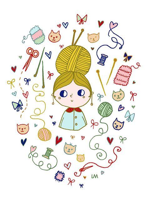 Miss knitting. Inspiración de Lina...